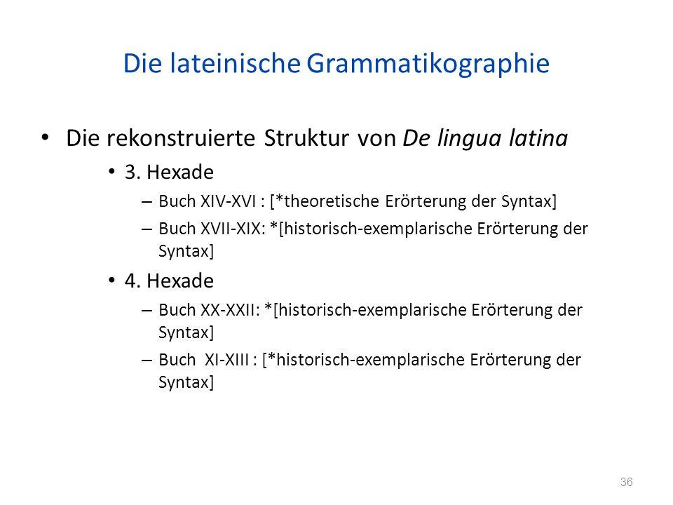 Die lateinische Grammatikographie Die rekonstruierte Struktur von De lingua latina 3.