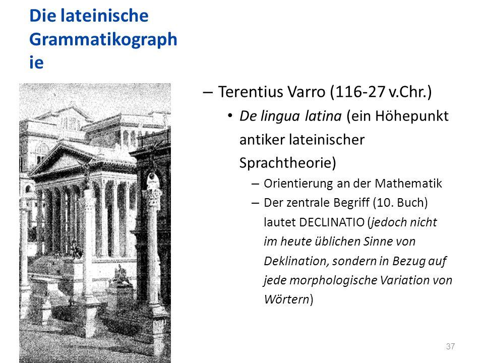 Die lateinische Grammatikograph ie – Terentius Varro (116-27 v.Chr.) De lingua latina (ein Höhepunkt antiker lateinischer Sprachtheorie) – Orientierung an der Mathematik – Der zentrale Begriff (10.