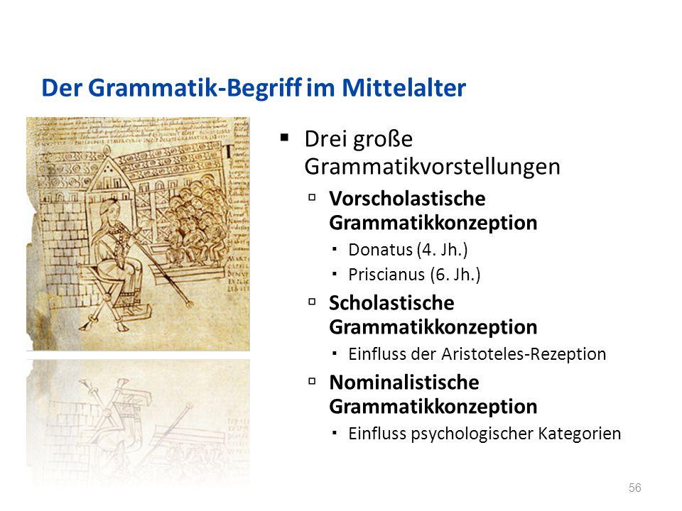 Der Grammatik-Begriff im Mittelalter Drei große Grammatikvorstellungen Vorscholastische Grammatikkonzeption Donatus (4.
