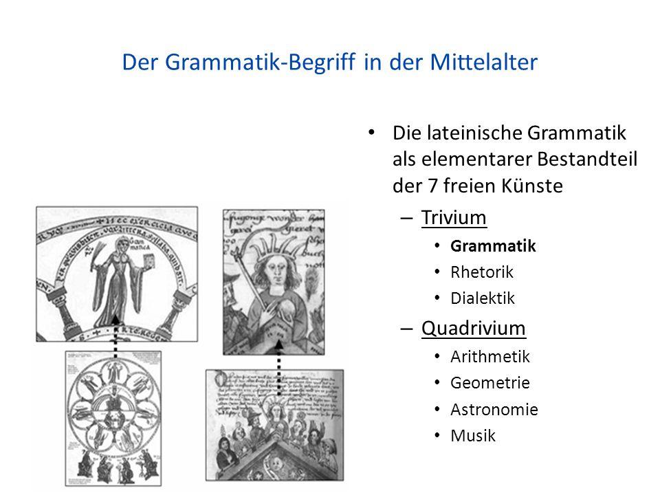 Der Grammatik-Begriff in der Mittelalter Die lateinische Grammatik als elementarer Bestandteil der 7 freien Künste – Trivium Grammatik Rhetorik Dialektik – Quadrivium Arithmetik Geometrie Astronomie Musik 59