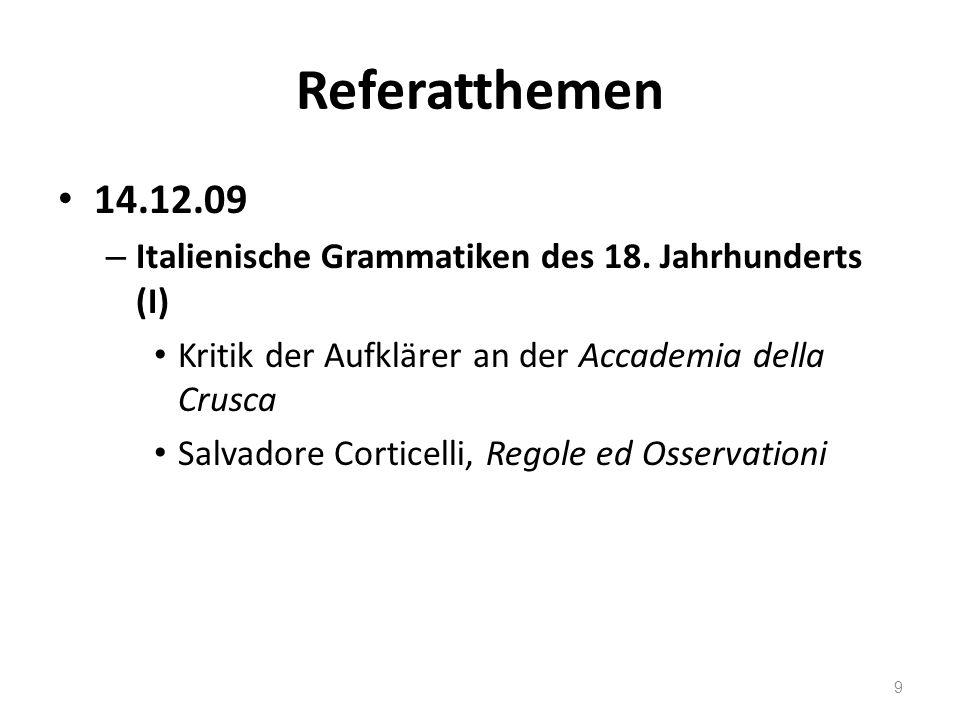Referatthemen 21.12.09 – Italienische Grammatiken des 18.