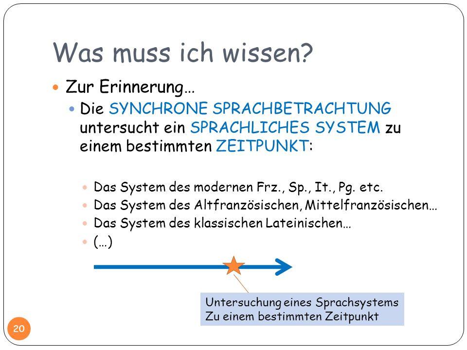 Was muss ich wissen? Zur Erinnerung… Die SYNCHRONE SPRACHBETRACHTUNG untersucht ein SPRACHLICHES SYSTEM zu einem bestimmten ZEITPUNKT: Das System des