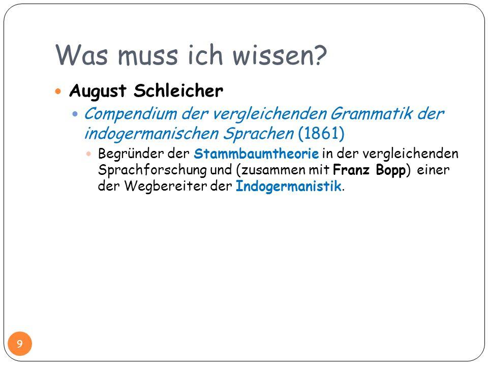 Was muss ich wissen? August Schleicher Compendium der vergleichenden Grammatik der indogermanischen Sprachen (1861) Begründer der Stammbaumtheorie in
