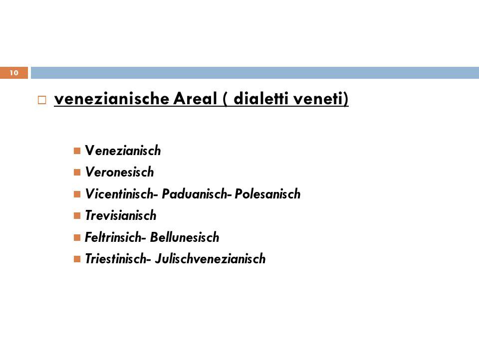 venezianische Areal ( dialetti veneti) Venezianisch Veronesisch Vicentinisch- Paduanisch- Polesanisch Trevisianisch Feltrinsich- Bellunesisch Triestin