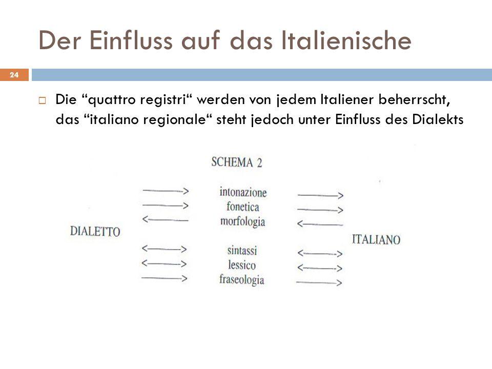 Der Einfluss auf das Italienische Die quattro registri werden von jedem Italiener beherrscht, das italiano regionale steht jedoch unter Einfluss des D