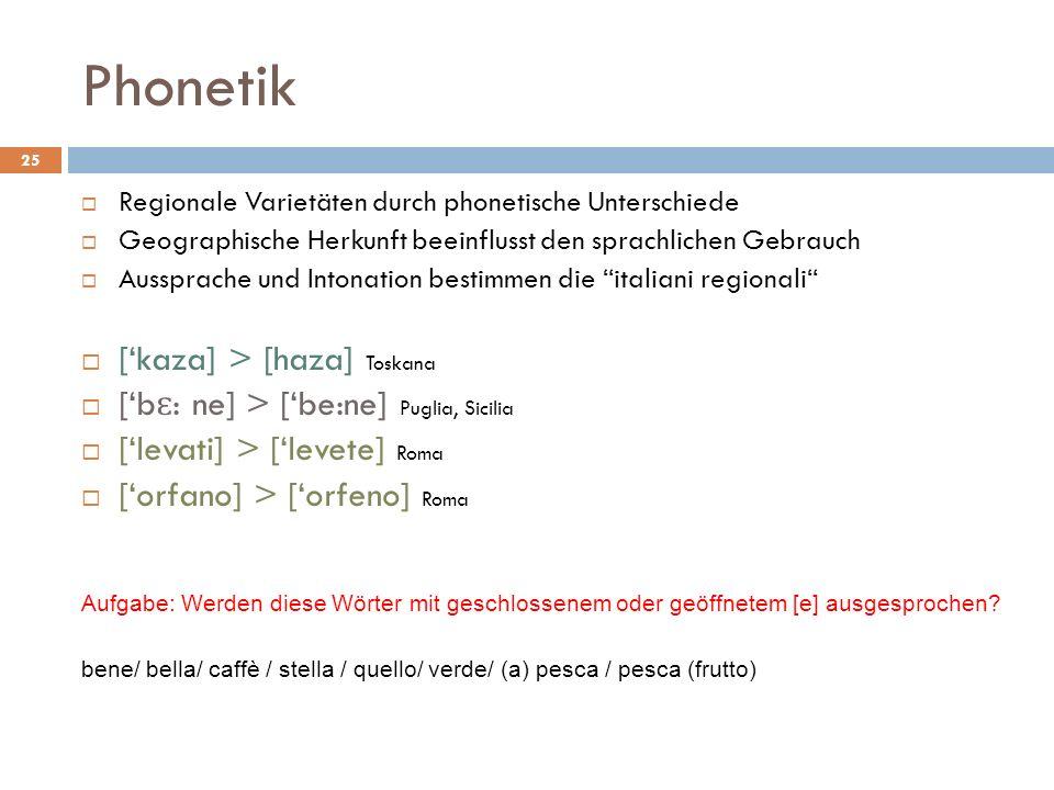 Phonetik Regionale Varietäten durch phonetische Unterschiede Geographische Herkunft beeinflusst den sprachlichen Gebrauch Aussprache und Intonation be