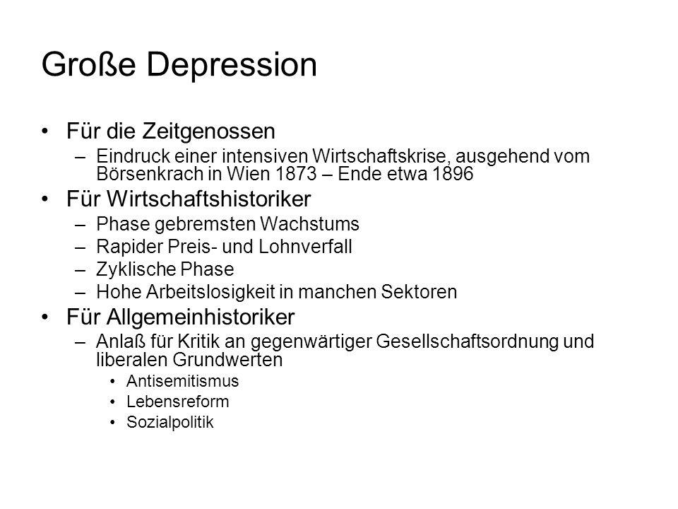 Große Depression Für die Zeitgenossen –Eindruck einer intensiven Wirtschaftskrise, ausgehend vom Börsenkrach in Wien 1873 – Ende etwa 1896 Für Wirtsch