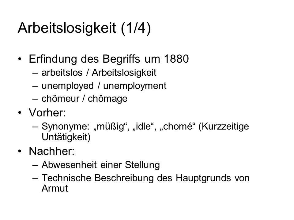 Arbeitslosigkeit (1/4) Erfindung des Begriffs um 1880 –arbeitslos / Arbeitslosigkeit –unemployed / unemployment –chômeur / chômage Vorher: –Synonyme: