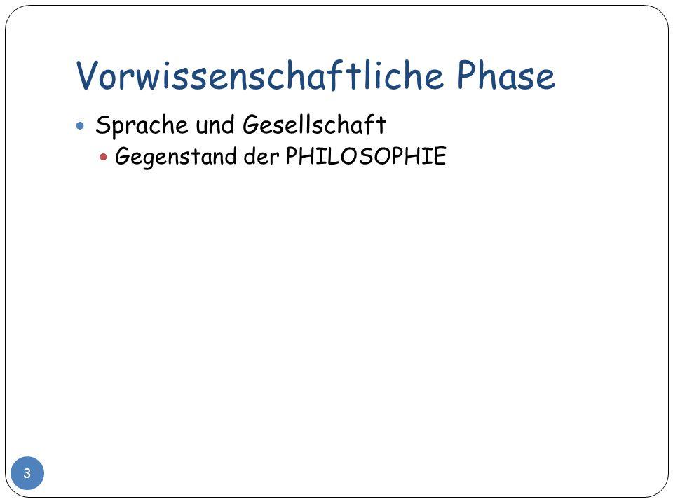 Vorwissenschaftliche Phase 3 Sprache und Gesellschaft Gegenstand der PHILOSOPHIE