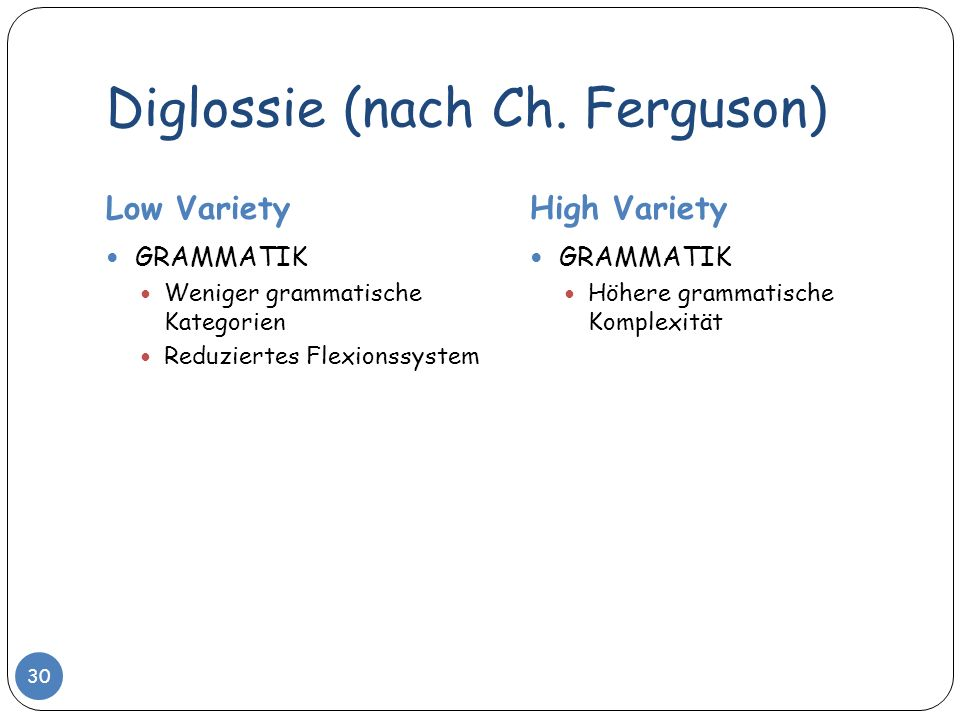 Diglossie (nach Ch. Ferguson) Low VarietyHigh Variety GRAMMATIK Weniger grammatische Kategorien Reduziertes Flexionssystem GRAMMATIK Höhere grammatisc