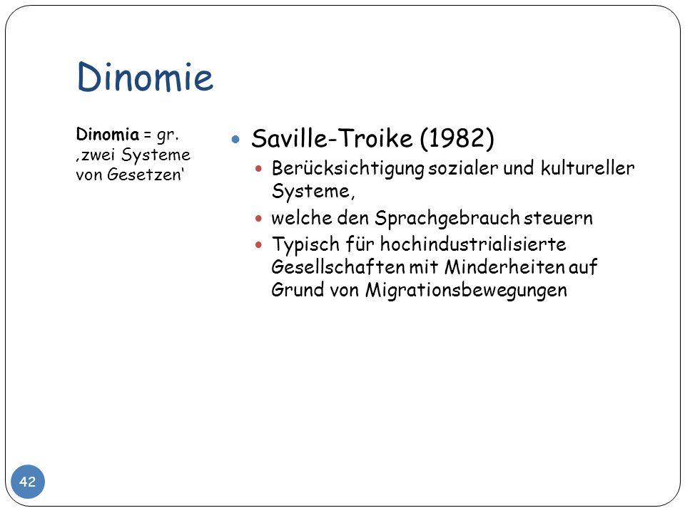 Dinomie Dinomia = gr. zwei Systeme von Gesetzen Saville-Troike (1982) Berücksichtigung sozialer und kultureller Systeme, welche den Sprachgebrauch ste