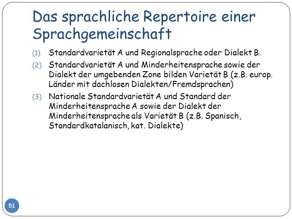 Das sprachliche Repertoire einer Sprachgemeinschaft 51 (1) Standardvarietät A und Regionalsprache oder Dialekt B. (2) Standardvarietät A und Minderhei