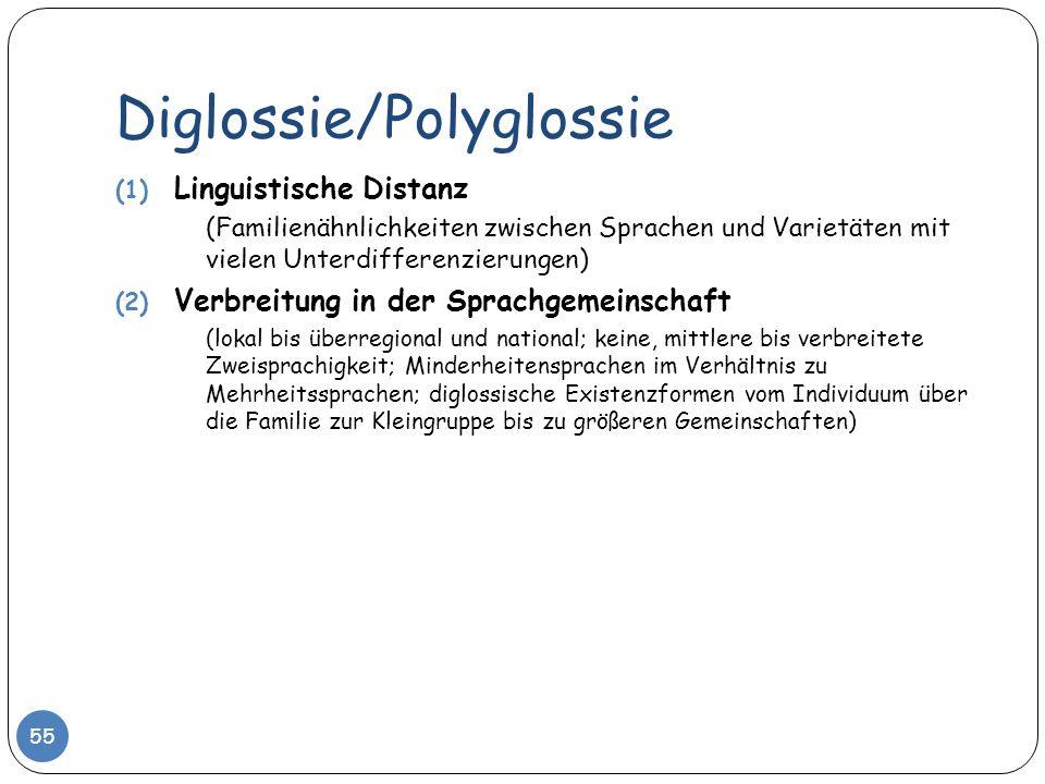Diglossie/Polyglossie 55 (1) Linguistische Distanz (Familienähnlichkeiten zwischen Sprachen und Varietäten mit vielen Unterdifferenzierungen) (2) Verb