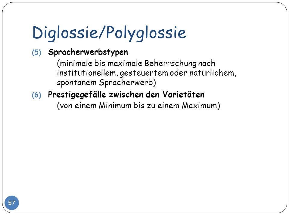 Diglossie/Polyglossie 57 (5) Spracherwerbstypen (minimale bis maximale Beherrschung nach institutionellem, gesteuertem oder natürlichem, spontanem Spr