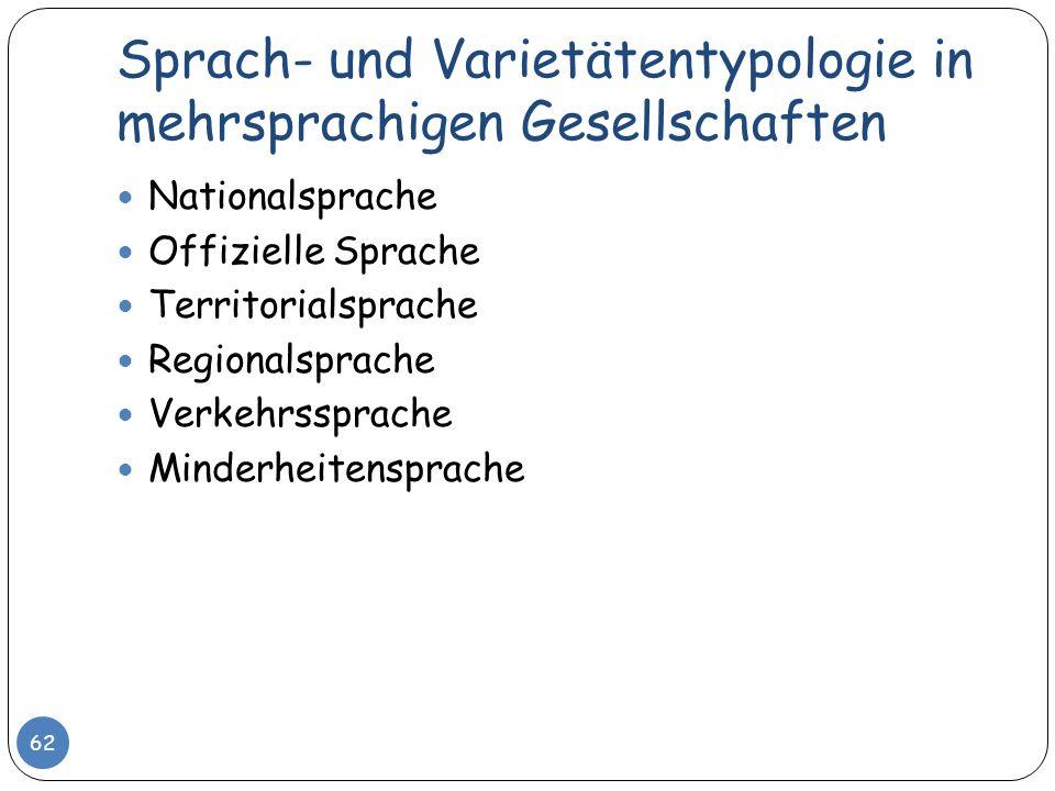 Sprach- und Varietätentypologie in mehrsprachigen Gesellschaften 62 Nationalsprache Offizielle Sprache Territorialsprache Regionalsprache Verkehrsspra