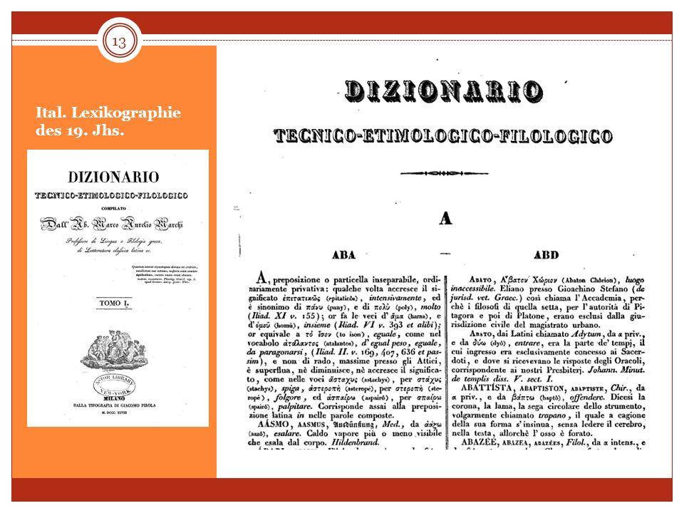Ital. Lexikographie des 19. Jhs. 13
