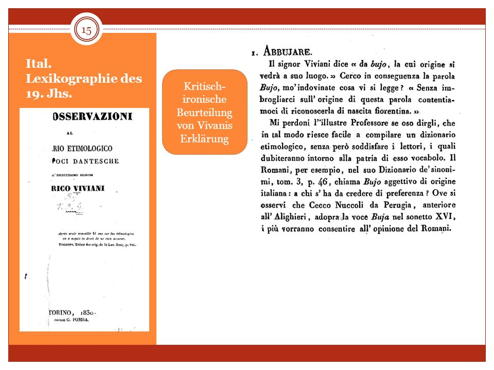 Ital. Lexikographie des 19. Jhs. 15 Kritisch- ironische Beurteilung von Vivanis Erklärung
