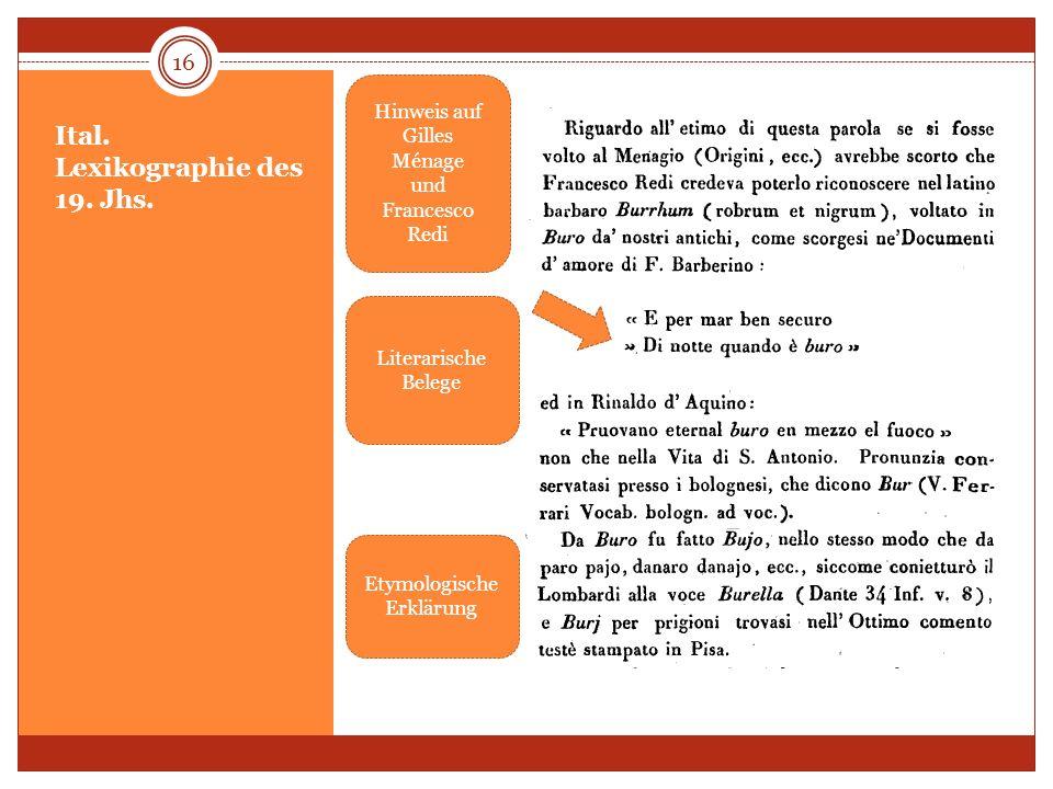Ital. Lexikographie des 19. Jhs. 16 Hinweis auf Gilles Ménage und Francesco Redi Literarische Belege Etymologische Erklärung