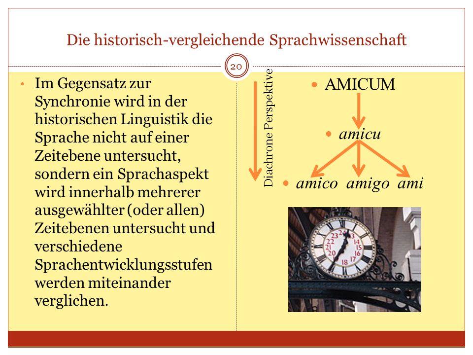 Die historisch-vergleichende Sprachwissenschaft 20 Im Gegensatz zur Synchronie wird in der historischen Linguistik die Sprache nicht auf einer Zeitebe