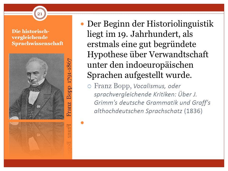 Die historisch- vergleichende Sprachwissenschaft Der Beginn der Historiolinguistik liegt im 19. Jahrhundert, als erstmals eine gut begründete Hypothes