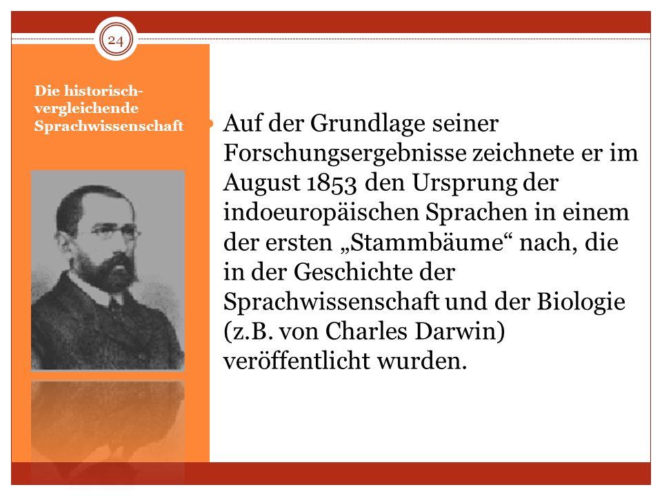 Die historisch- vergleichende Sprachwissenschaft Auf der Grundlage seiner Forschungsergebnisse zeichnete er im August 1853 den Ursprung der indoeuropä