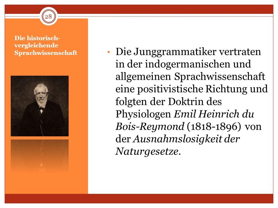 Die historisch- vergleichende Sprachwissenschaft Die Junggrammatiker vertraten in der indogermanischen und allgemeinen Sprachwissenschaft eine positiv