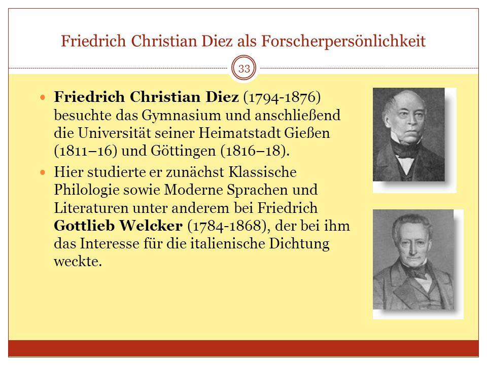 Friedrich Christian Diez als Forscherpersönlichkeit 33 Friedrich Christian Diez (1794-1876) besuchte das Gymnasium und anschließend die Universität se