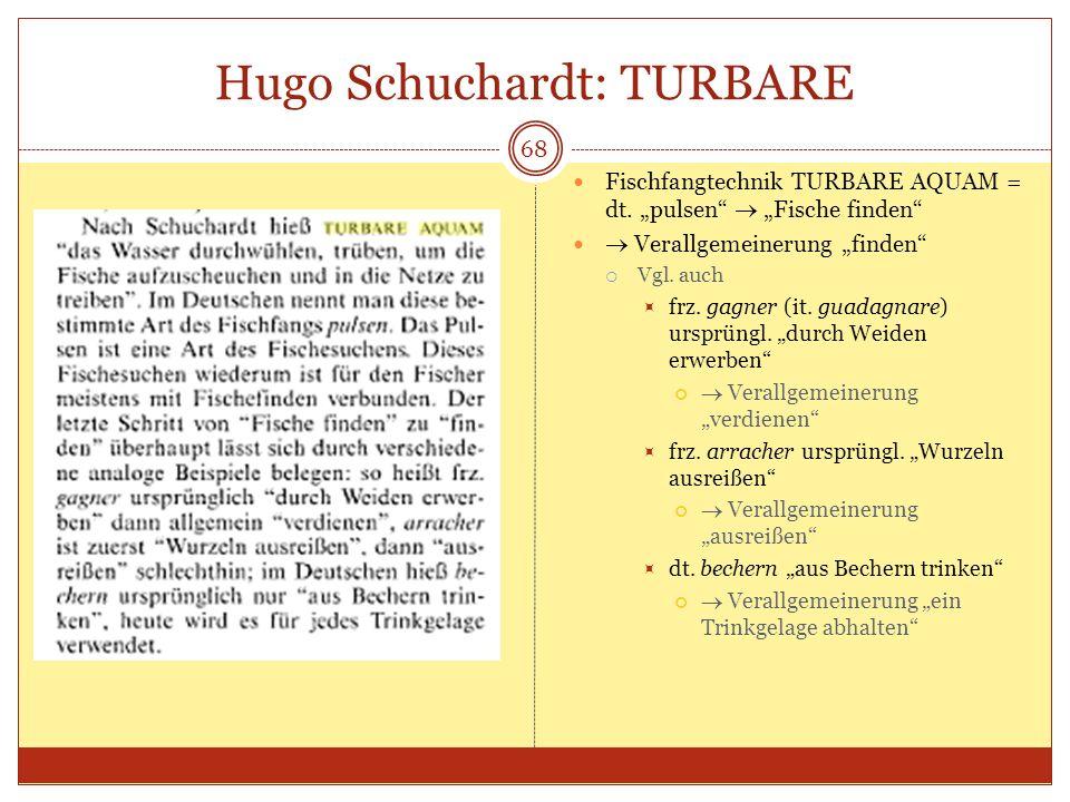 Hugo Schuchardt: TURBARE 68 Fischfangtechnik TURBARE AQUAM = dt. pulsen Fische finden Verallgemeinerung finden Vgl. auch frz. gagner (it. guadagnare)