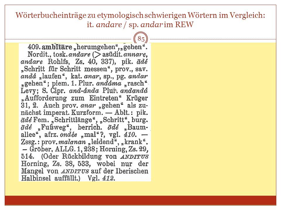 85 Wörterbucheinträge zu etymologisch schwierigen Wörtern im Vergleich: it. andare / sp. andar im REW