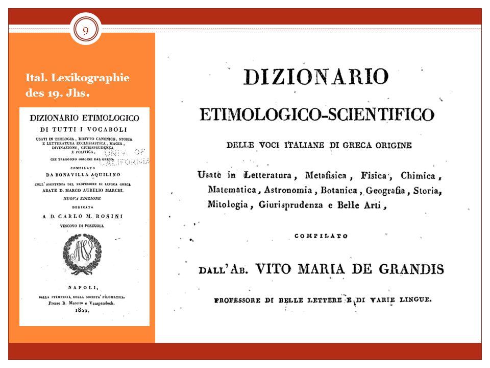 Ital. Lexikographie des 19. Jhs. 9