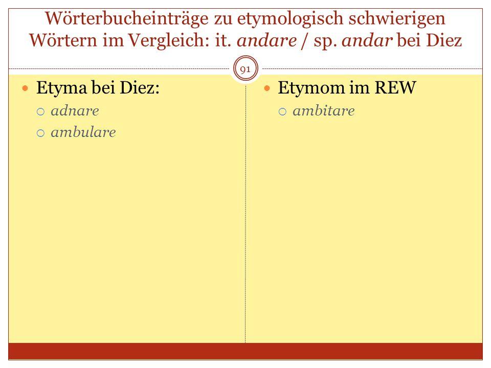 91 Wörterbucheinträge zu etymologisch schwierigen Wörtern im Vergleich: it. andare / sp. andar bei Diez Etyma bei Diez: adnare ambulare Etymom im REW