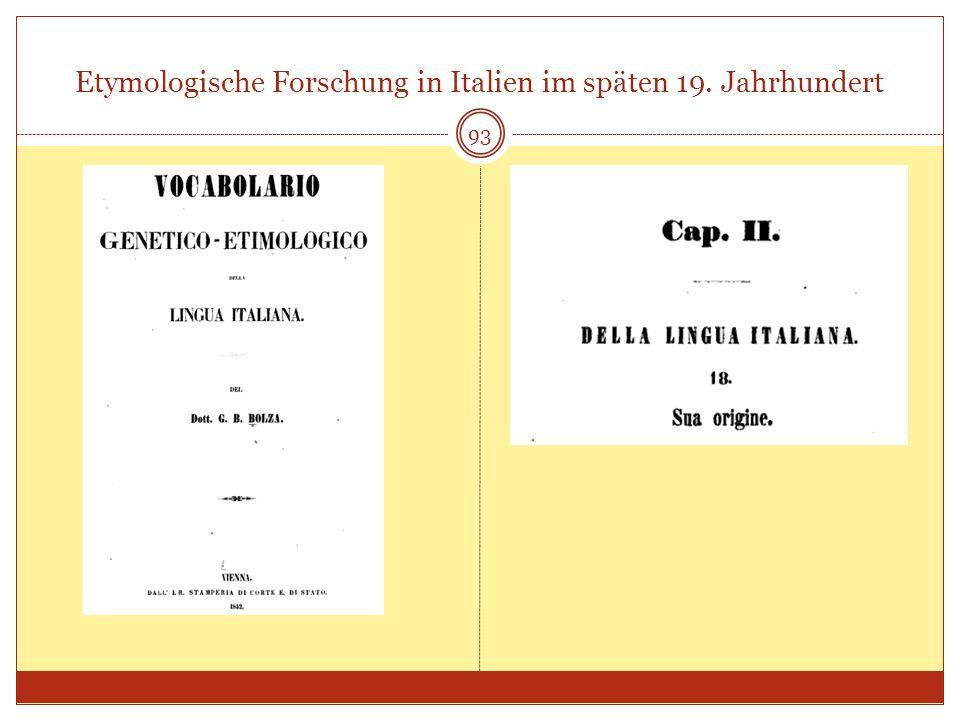 Etymologische Forschung in Italien im späten 19. Jahrhundert 93