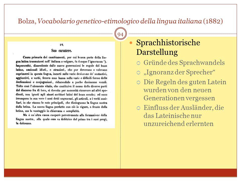 Bolza, Vocabolario genetico-etimologico della lingua italiana (1882) 94 Sprachhistorische Darstellung Gründe des Sprachwandels Ignoranz der Sprecher D