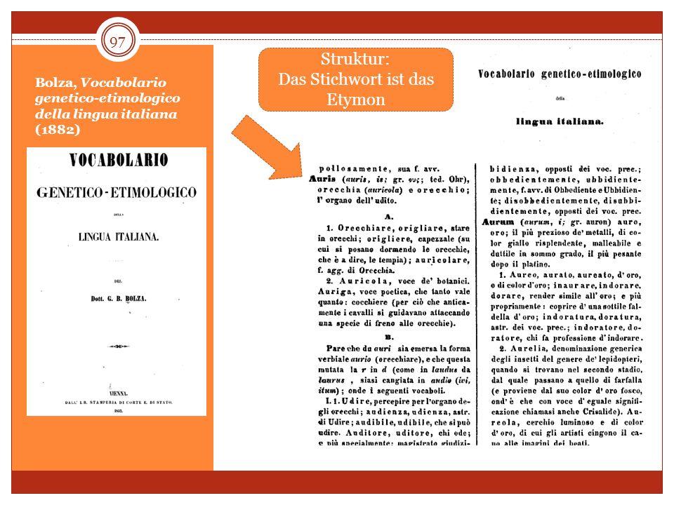 Bolza, Vocabolario genetico-etimologico della lingua italiana (1882) 97 Struktur: Das Stichwort ist das Etymon