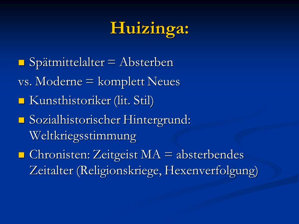 Huizinga: Spätmittelalter = Absterben Spätmittelalter = Absterben vs. Moderne = komplett Neues Kunsthistoriker (lit. Stil) Kunsthistoriker (lit. Stil)