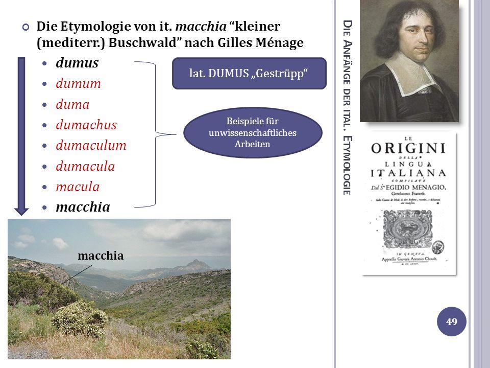 D IE A NFÄNGE DER ITAL. E TYMOLOGIE Die Etymologie von it. macchia kleiner (mediterr.) Buschwald nach Gilles Ménage dumus dumum duma dumachus dumaculu