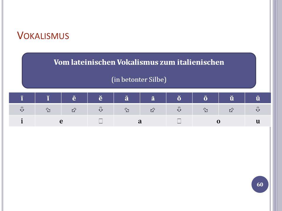 V OKALISMUS īĭēĕā ă ŏōŭū ie a ou Vom lateinischen Vokalismus zum italienischen (in betonter Silbe) 60