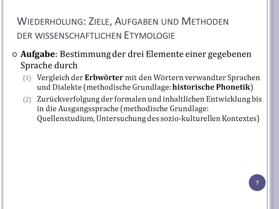 D IE A NFÄNGE DER ITAL.E TYMOLOGIE Die etymologische Lexikographie im 17.