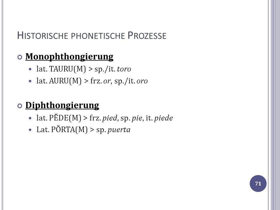 H ISTORISCHE PHONETISCHE P ROZESSE Monophthongierung lat. TAURU(M) > sp./it. toro lat. AURU(M) > frz. or, sp./it. oro Diphthongierung lat. PĔDE(M) > f