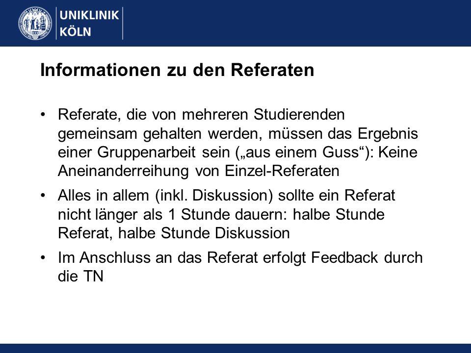 Informationen zu den Referaten Referate, die von mehreren Studierenden gemeinsam gehalten werden, müssen das Ergebnis einer Gruppenarbeit sein (aus ei