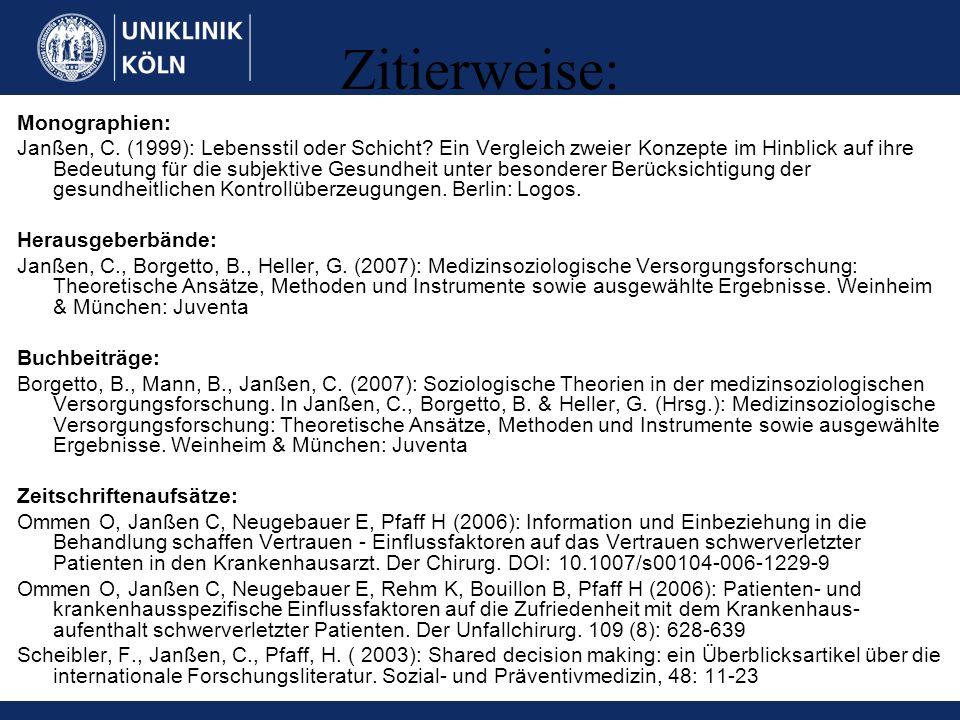 Zitierweise: Monographien: Janßen, C. (1999): Lebensstil oder Schicht? Ein Vergleich zweier Konzepte im Hinblick auf ihre Bedeutung für die subjektive