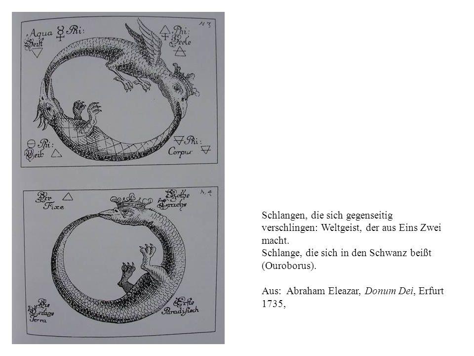 Schlangen, die sich gegenseitig verschlingen: Weltgeist, der aus Eins Zwei macht. Schlange, die sich in den Schwanz beißt (Ouroborus). Aus: Abraham El