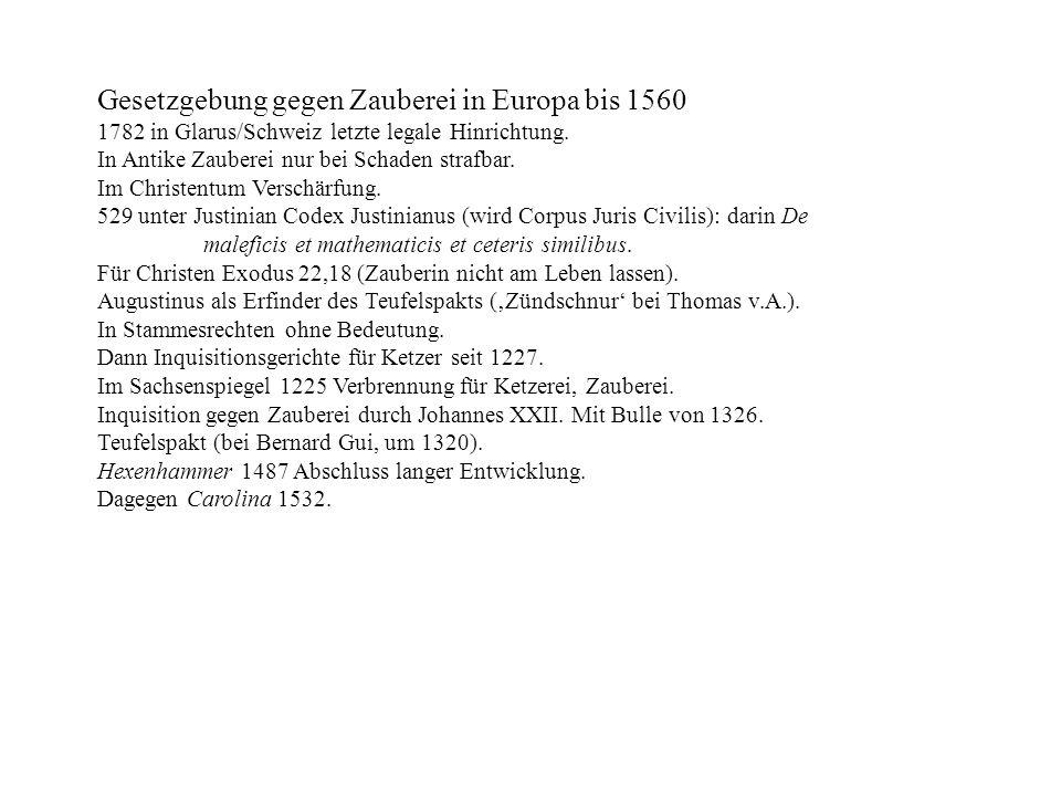 Gesetzgebung gegen Zauberei in Europa bis 1560 1782 in Glarus/Schweiz letzte legale Hinrichtung. In Antike Zauberei nur bei Schaden strafbar. Im Chris