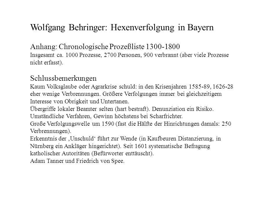Wolfgang Behringer: Hexenverfolgung in Bayern Anhang: Chronologische Prozeßliste 1300-1800 Insgesamt ca. 1000 Prozesse, 2700 Personen, 900 verbrannt (