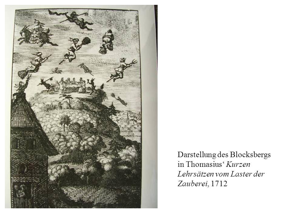 Darstellung des Blocksbergs in Thomasius Kurzen Lehrsätzen vom Laster der Zauberei, 1712