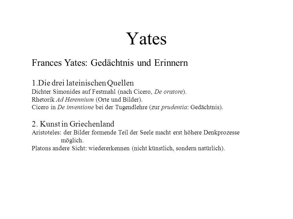 Yates Frances Yates: Gedächtnis und Erinnern 1.Die drei lateinischen Quellen Dichter Simonides auf Festmahl (nach Cicero, De oratore). Rhetorik Ad Her