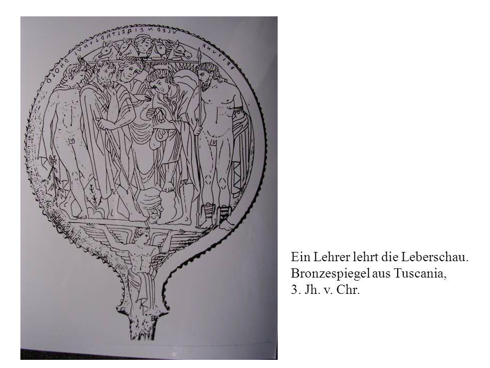Ein Lehrer lehrt die Leberschau. Bronzespiegel aus Tuscania, 3. Jh. v. Chr.