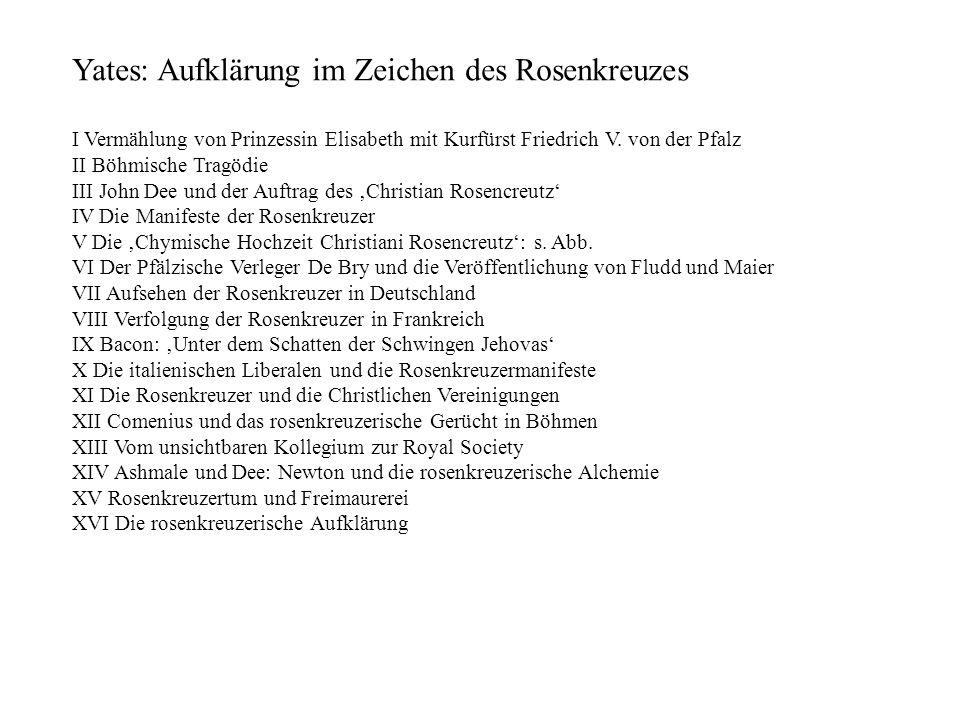 Yates: Aufklärung im Zeichen des Rosenkreuzes I Vermählung von Prinzessin Elisabeth mit Kurfürst Friedrich V. von der Pfalz II Böhmische Tragödie III