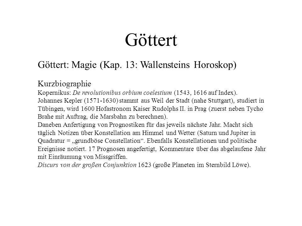Göttert Göttert: Magie (Kap. 13: Wallensteins Horoskop) Kurzbiographie Kopernikus: De revolutionibus orbium coelestium (1543, 1616 auf Index). Johanne