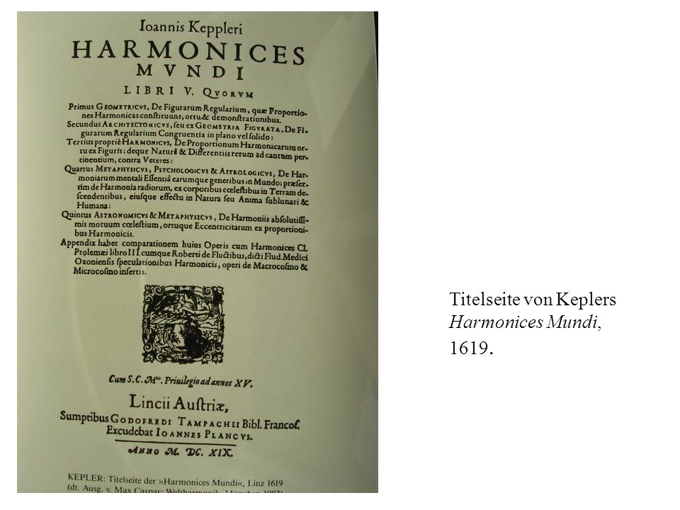 Titelseite von Keplers Harmonices Mundi, 1619.